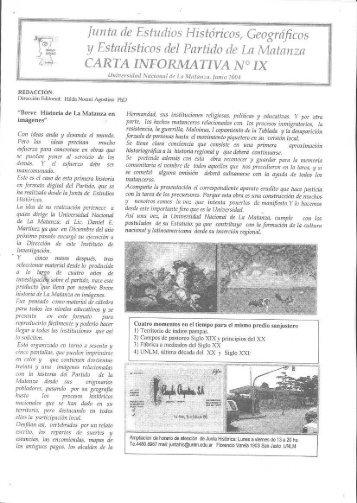 Carta Informativa 9 - Junio 2004 - Universidad Nacional de La ...