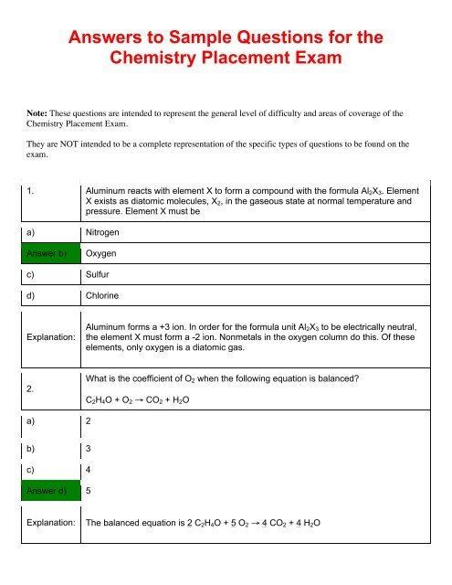 Answers to Sample Questions for the Chemistry Placement