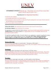 Informed Consent Sample Form - University of Nevada, Las Vegas