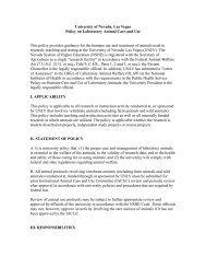 Laboratory Animal Care and Use - University of Nevada, Las Vegas