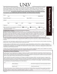 Residency Application - University of Nevada, Las Vegas