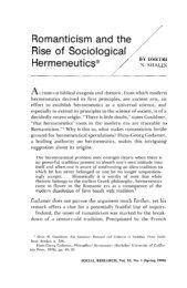 Romanticism and the /' Rise of Sociological Hermeneutics*