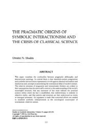 the pragmatic origins of symbolic interactionism and the crisis