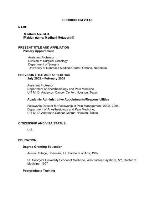 Curriculum Vitae Name Madhuri Are Md Maiden Unmc