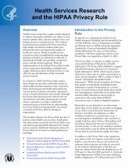 Health Services Research and the HIPAA Privacy Rule