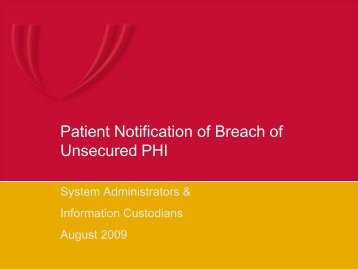 Patient Notification of Breach of Unsecured PHI (August 2009) - UNMC