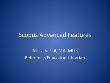 Scopus Basic Searching - UNMC