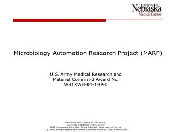 Microbiology Automation Research Project (MARP) - UNMC