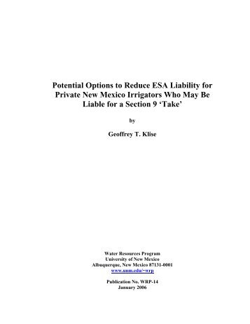 Potential Options To Reduce ESA Liability For Private - University of ...