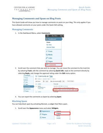 Managing Comments and Spam on Blog Posts - Blogs @ Butler ...