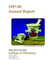 1997-98 Annual Report - College of Pharmacy - Idaho State University
