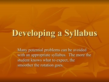 Developing a Syllabus - College of Pharmacy - Idaho State University