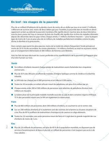 En bref : les visages de la pauvreté - UN Millennium Project