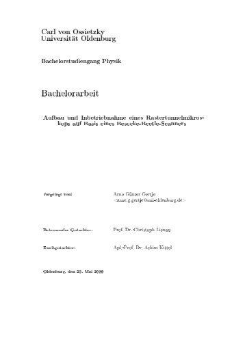 Bachelorarbeit - Universität Oldenburg