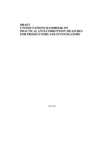draft united nations handbook on practical anti-corruption measures ...