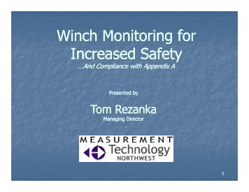 Winch Monitoring for Winch Monitoring for Increased Safety - UNOLS!