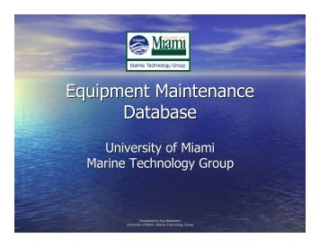 Equipment Maintenance Database - UNOLS!