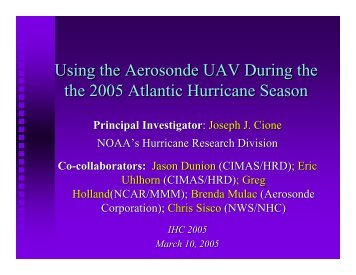 NOAA –Hurricane Research Division - UNOLS!