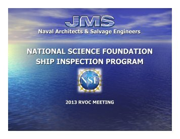 Ship Inspection Program Update - UNOLS!