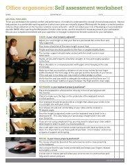 Office ergonomics: Self assessment worksheet