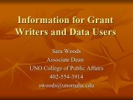 Information for Grant Writers and Data Users - University of ...