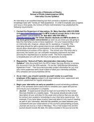 Internship in Public Administration - University of Nebraska Omaha