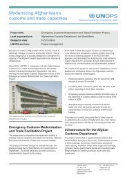 Modernizing Afghanistan's customs and trade capacities - UNOPS
