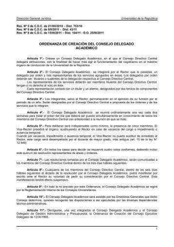 ordenanza de creación del consejo delegado académico