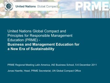 United Nations Global Compact and Principles for Responsible ...