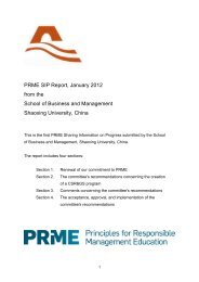 PRME SIP report from SB&M, Shaoxing University, January 2012