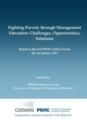 Fighting Poverty through Management Education: Challenges - PRME