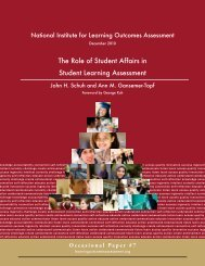 The Role of Student Affairs in Student Learning Assessment