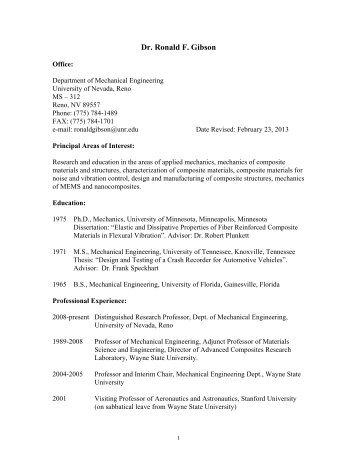 Dr. Ronald F. Gibson - University of Nevada, Reno