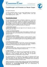 Empfehlungen und Hinweise zur Neuen Grippe