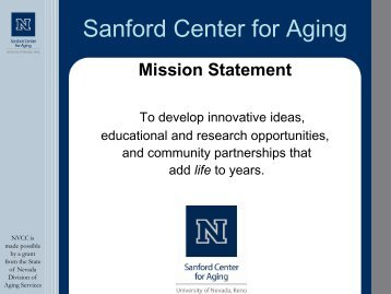 Sanford Center for Aging - University of Nevada, Reno