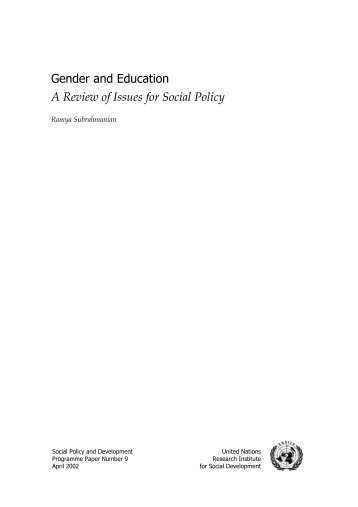 Gender and Education: A Review of Issues for Social Policy