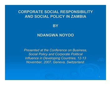 corporate social responsibility and social policy in zambia by ...