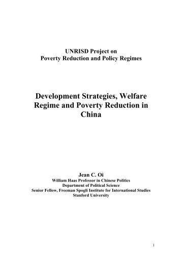 poverty reduction and welfare provision for