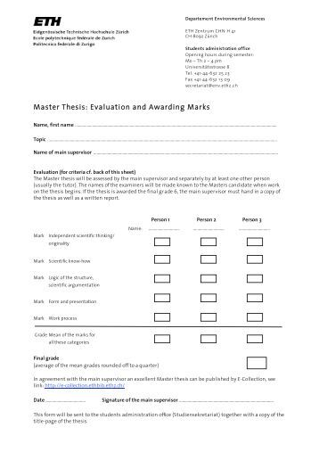 Master thesis evaluation criteria