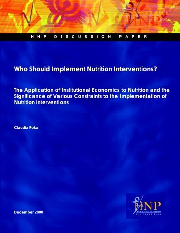 Who Should Implement Nutrition Interventions? - World Bank ...