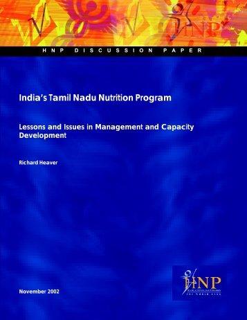 India's Tamil Nadu Nutrition Program - World Bank Internet Error ...