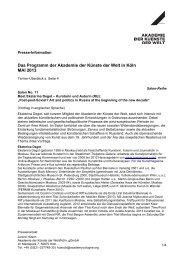 Das Programm der Akademie der Künste der Welt in Köln MAI 2013