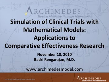 Simulation of Clinical Trials with Mathematical Models ... - CBI