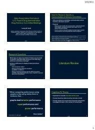 Data Presentation Formats at U.S. Food and Drug ... - CBI