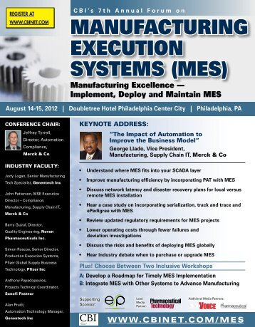 Manufacturing ExEcution SyStEMS (MES) - CBI
