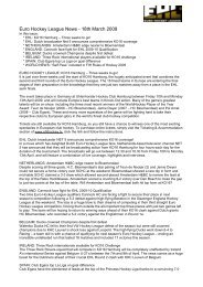 Euro Hockey League News - 18th March 2009