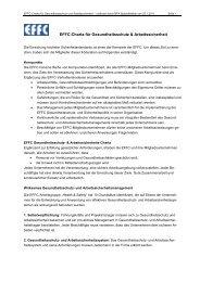 EFFC-Charta für Gesundheitsschutz & Arbeitssicherheit