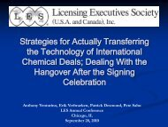 Some Points to Consider - Licensing Executives Society USA and ...