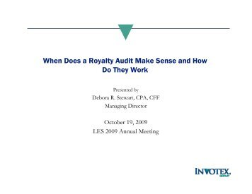 What is a royalty audit? - Licensing Executives Society USA and ...