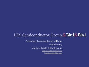 LES Semiconductor Group - Licensing Executives Society USA and ...